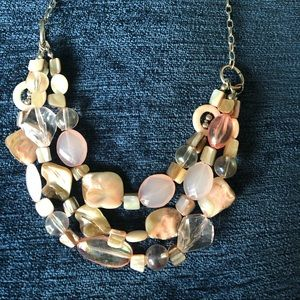 Pink, tan, and cream bead and stone necklace